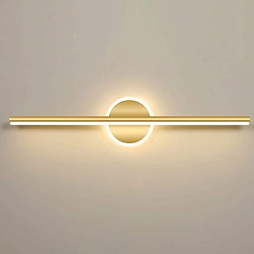 Siet Lámparas delanteras de espejo LED, luz de vanidad de baño de 10W, luces de espejo de maquillaje de baño, accesorio de iluminación de pared de baño de metales dorados, blanco cálido 3000k