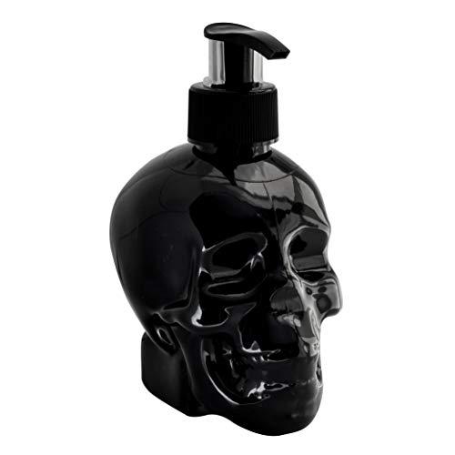 Totenkopf Deko Seifenspender im Skull Head Design inkl. 300ml Flüssigseife Spender für Seife (Black)