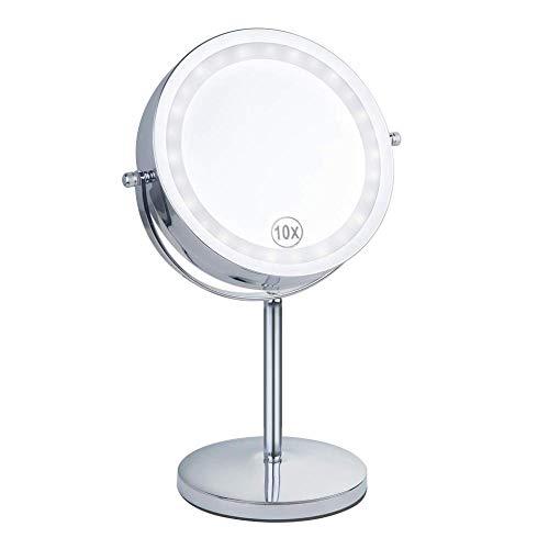 ZCXBHD Miroir De Vanité Avec des Lumières | Miroir De Rasage, Miroir De Rasage Und Salle De Salle De Bains Funktionsweise à La Batterie | Double Face Mit Lupe 10x