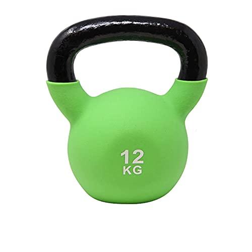 POWRX Kettlebell Hierro Fundido 12 kg - Pesa Rusa con Revestimiento de Neopreno + PDF Workout (Verde Claro)