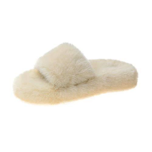 Mujer Peluche Memory Foam Zapatillas De Casa,Resbalones deslizantes, Zapatos Finos al RAS, Chips de Punta Abierta de Fondo Grueso-Blanco_40,Invierno Impermeables Pantuflas