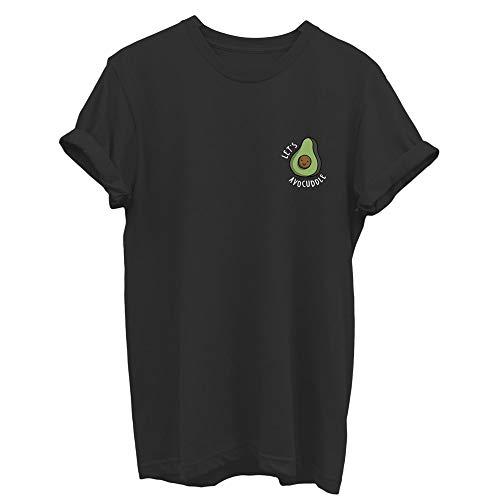 Avocado - Camiseta de Manga Corta con Cuello Redondo Negro Negro (Medium