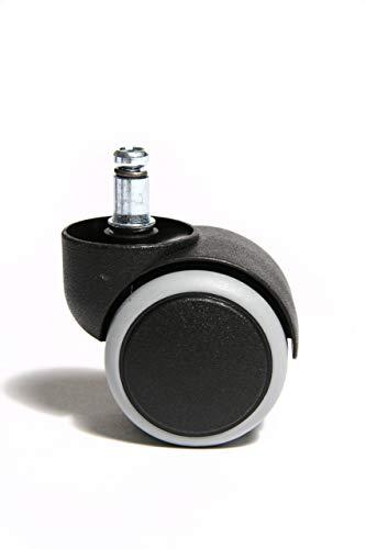 Topstar 6991 Rollenset, Hartbodenrollen für Bürostuhl, Rollenset = 5 Rollen für Schreibtischstuhl, schwarz, Stiftgröße 10mm, Durchmesser 50mm