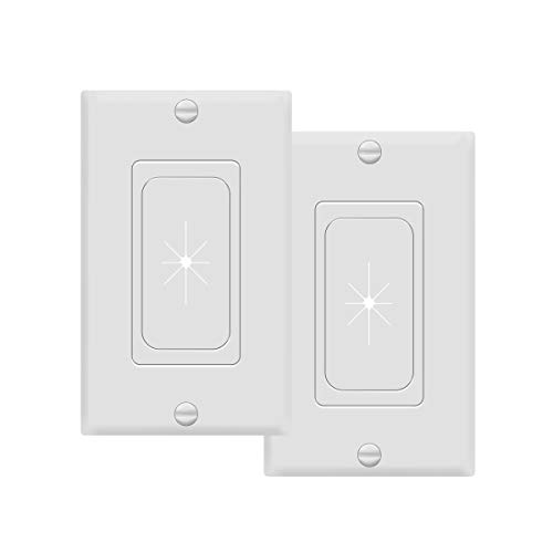 """TOPGREENER Flexible Rubber Wall Grommet Insert with Decorator Wall Plate, Pass Through Plate for Low-Voltage Cables, Size 1-Gang 4.50"""" x 2.75,"""" Polycarbonate Thermoplastic, TG8901-2PCS, White, 2 Pack"""