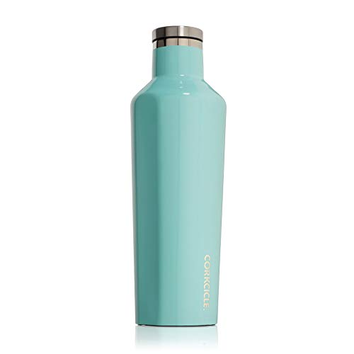 Corkcicle Canteen - Water Bottle & Thermos - Triple Insulated Stainless Steel, 16 oz, Gloss Turquoise