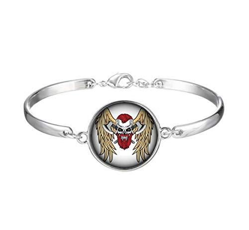 Elf House Schrecklicher Totenkopf mit rotem Bärt, Äxte und Flügel, Illustrationsarmband, künstlerisches Glasarmband, einzigartiges Geschenk