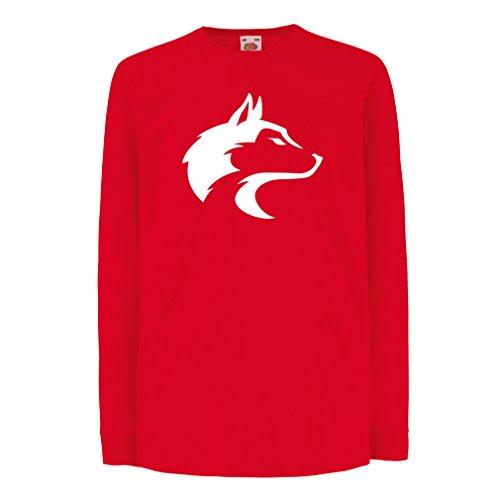 Camisetas de Manga Larga para Niño la Llamada del Lobo Salvaje - gráfico Genial con sentimiento Espiritual (12-13 Years Rojo Blanco)