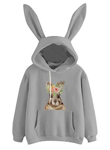 Camisas de Pascua para Mujer, Capucha con Orejas de Conejo, Manga Larga, Bolsillo de Canguro, cordón, Estampado de Conejo, Jersey