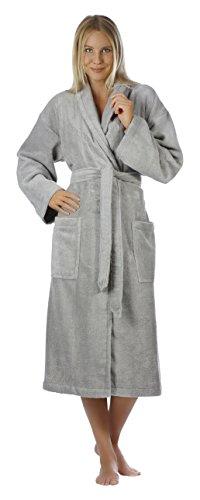Egeria MIKA Unisex Bademantel mit Schalkragen in superweicher Zero Twist Baumwolle, Größe S, Farbe Steel
