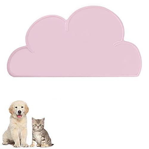 FANJIANG Alfombrilla para Comederos de Mascota, Tapete de Silicona Premium Antideslizante para Perros y Gatos, Impermeable y Protector (Pink)