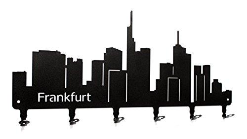 steelprint.de Wandgarderobe - Skyline Frankfurt - Flurgarderobe 58 cm - Hessen - Kleiderhaken, Hakenleiste, Garderobenleiste, Garderobenhalter, Garderobe - Metall, schwarz