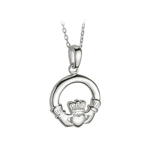 Irish Claddagh Necklace For Women Made in Ireland Small Celtic Necklace Pendant For Everyday Wear Simple Yet Heavy Sterling Silver Comes on Silver Chain Made in Co. Dublin by Maker-Partners at Solvar