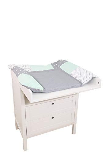 ULLENBOOM ® Wickelauflagenbezug 75x85 cm Mint Grau (Made in EU) - abnehmbarer Bezug für Wickelauflage 85x75, Baby Überzug für Wickelunterlage aus Baumwolle, Wickelbezug für Wickeltisch