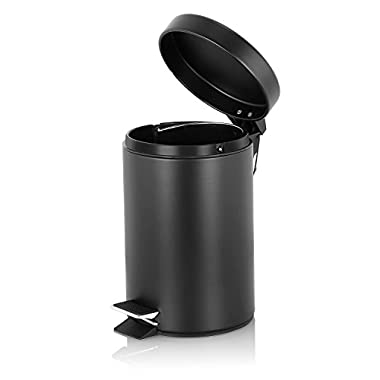 Fortune Candy Small Step Trash Can, Garbage Can with Lid, Trash Can for Bathroom / Limited Space (Black)