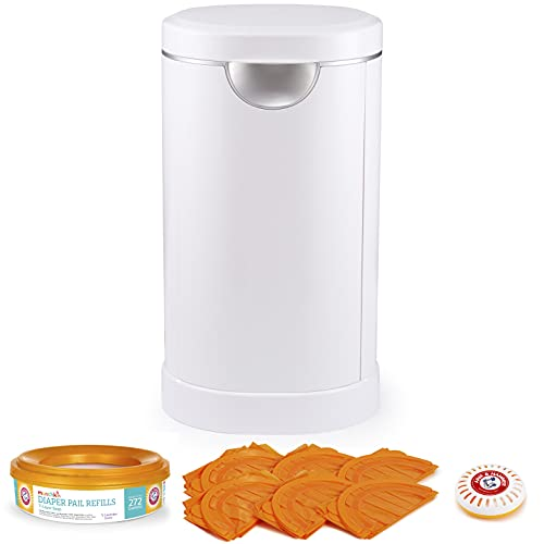 Munchkin Diaper Pail Baby Registry Starter Set, Powered by Arm and Hammer, Includes 1 Month Refill Supply and Baking Soda Puck