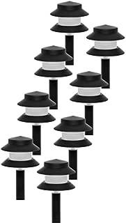 GreenLighting Low Voltage Landscape Path Lights - 35 Lumen Modern 2-Tier Outdoor 2.5 Watt Landscape Light (8 Pack, Black)