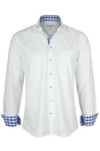 Almsach Herren Hemd Slim Fit weiß mit Karierten Details blau, weiß-Jeans, XL