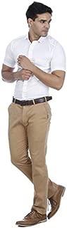 EL FIGO Men's Oxford Cotton Solid Half Sleeve Shirt