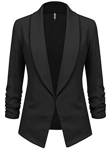 LL WSK2324 Women 3/4 Sleeve Blazer Open Front Cardigan Jacket Work Office Blazer XXL Black