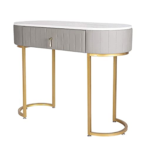 """Joveco 39"""" Vanity Table with Drawer- Modern Makeup Vanity Desk with Drawers- Dressing Table Small Desks for Bedrooms- Home Office Computer Desk White Marble Pattern Wood Veneer Table/Gold Metal Legs"""