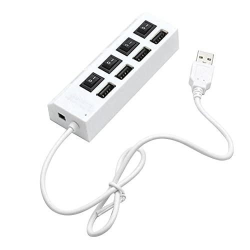 Hub USB 2.0 Hub múltiple USB Splitter Hub con adaptador de corriente 4 puertos extensor múltiple USB Hub para PC con interruptor independiente