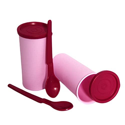 Tupperware Juego de 2 tazas de yogur con tapa y 2 cucharas colgantes para yogurter/colador, color rosa