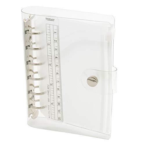 TSUKURIRO ミニサイズ 透明バインダー システム手帳 PVC クリア リング 6穴 セット (Aセット. ファスナークリアポケット 2枚)