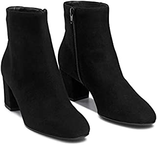 CARA ITALIA Hammersmith and Fulham Women's 2.25 Inch Heel Black Micro Suede Vegan Faux Leather Slip on Chelsea Zipper Boots