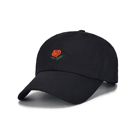 Hiinice Función de la Gorra de béisbol Bordada Rose Decoración Sombrero Multi Sports Protección Casquillo de la Manera Informal Cap Negro