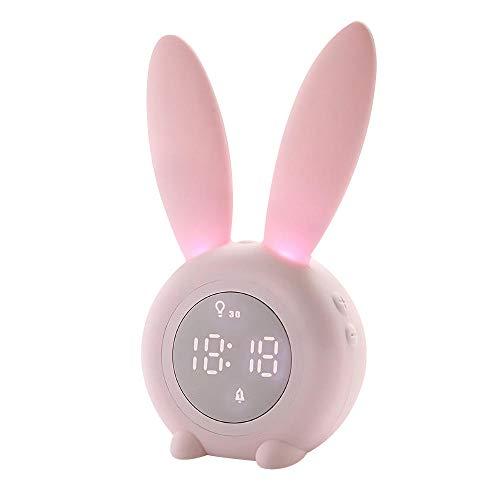 Generies Bunny Ear LED Sveglia Digitale Display Elettronico Controllo del Suono Simpatico Coniglio Lampada da Notte Orologio da Tavolo Regali di Compleanno per Ragazza