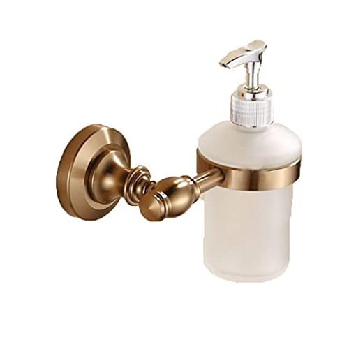 LLCOP Dispensador de jabón montado con Soporte, dispensador de Cristal de Botella de Perfume de latón Antiguo Cepillado para Bomba de Acero Inoxidable de baño (Color : Gold)