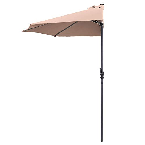 Tangkula 9 ft Half Round Outdoor Patio Umbrella, Market Umbrella with Crank and 5 ribs, Suitable for Café, Deck, Wall, Balcony, Window, Or Terrace (Beige)