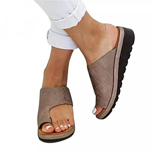 Jeauseul Slippers Shoes for Womens Orthopedic PU Leather Sandals Bunion Correction Slippers Casual Toe Separate Flat Shoes with Arch Support (A-Brown, 7)