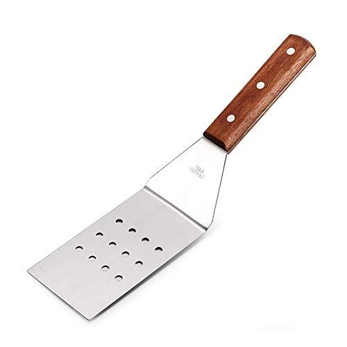 Pala plana gruesa Pala para freír Pala para bistec Pala para pizza Placa de hierro de acero inoxidable Pala Pala para agarrar a mano Pala para cocinar Pala para freír-Paleta de mango de madera