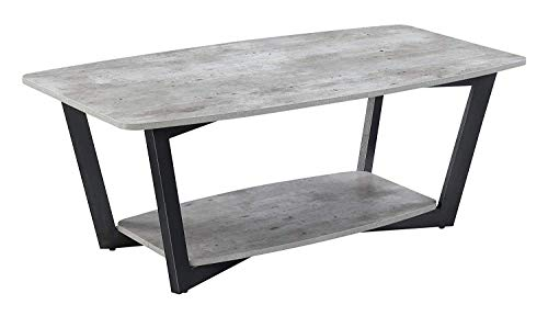Convenience Concepts Graystone Coffee Table, Faux Birch / Slate Gray Frame