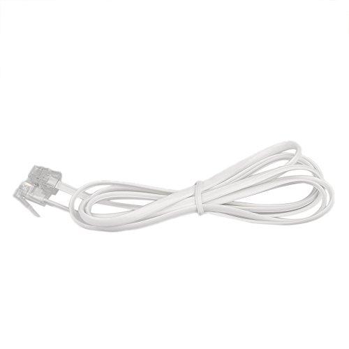 Vektenxi Vektenxi 2-adriges Telefonkabel Jack Jack Telefon gerade Kabel 6P2C Telefonkabel Telefonzubehör Weiß 2 Meter