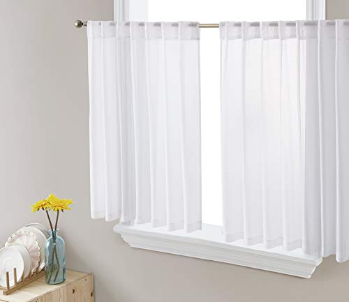 HLC.ME Lauren Semi Sheer Privacy Light Filtering Transparent Back Tab Rod Pocket Short Thick Cafe Curtain Tiers Small Windows, Kitchen & Basement, Set of 2 (36 W x 36 L, White)