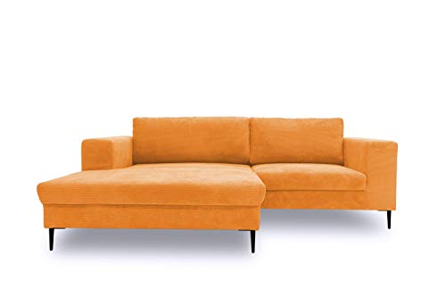 DOMO. collection Modica Ecksofa, moderne L-Form Eckcouch, Sofa Eckgarnitur, orange, 244x173x83