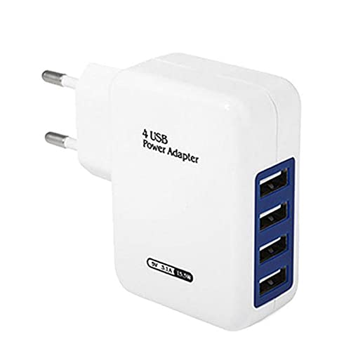 Yeahb Cargador USB De Pared con 4 Puertos Multifuncional Enchufe Multipuerto USB Multi-Protegido Adaptador De Corriente USB para Teléfonos Inteligentes, Tabletas, Etc