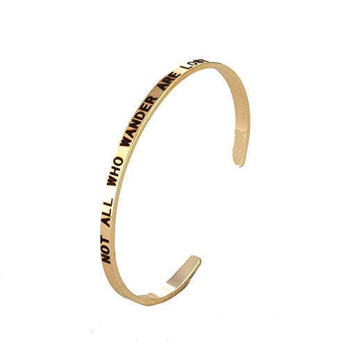 Bishilin Armreifen Uhr Damen Breit 4 MM mit Gravur NOT All WHO Wander Are Lost Edelstahl Armband für Frauen Gold Freundschaftsarmband