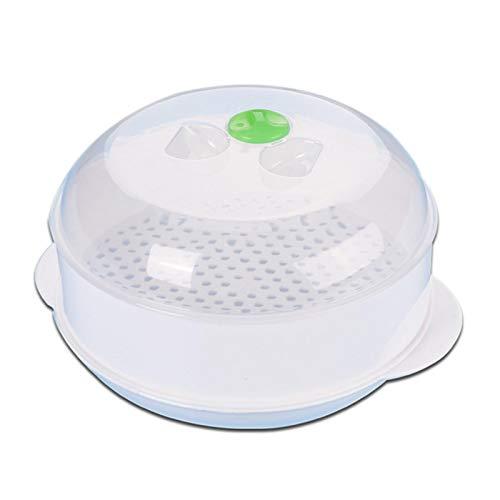 Retinue Dampfgarbehälter Für Mikrowelle, Microwave Dampfgarer Mit Deckel, Hitzebeständiger, Einschichtiger, Weiß, 21,5CM