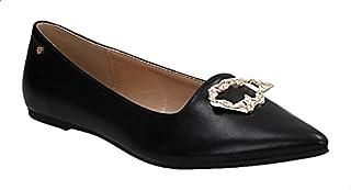 حذاء باليرينا فلات جلد صناعي مزين بحلية معدن مفرغة للنساء من ديجافو
