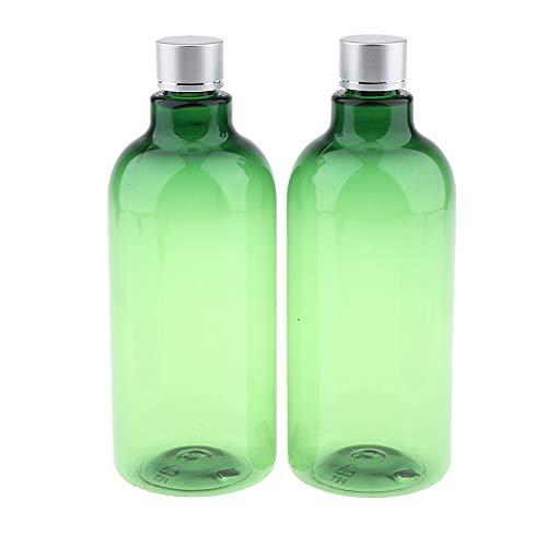 Homyl 2pcs 500 ml 120ml Rechargeable Bouteille de Crème Récipients Flacons de Voyage pour Lotion Crème Shampooing - Vert