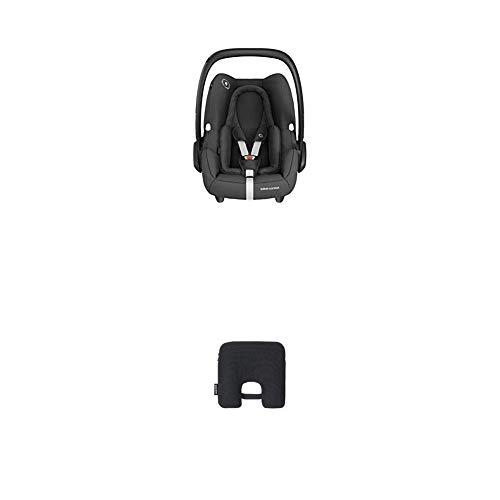 Bébé Confort Ovetto Rock Seggiolino Auto per Neonati ECE R129 I- Size Omologato Trasporto Aereo, Gruppo 0+, Cuscino Riduttore Ergonomico, con Dispositivo Antiabbandono, Essential Black
