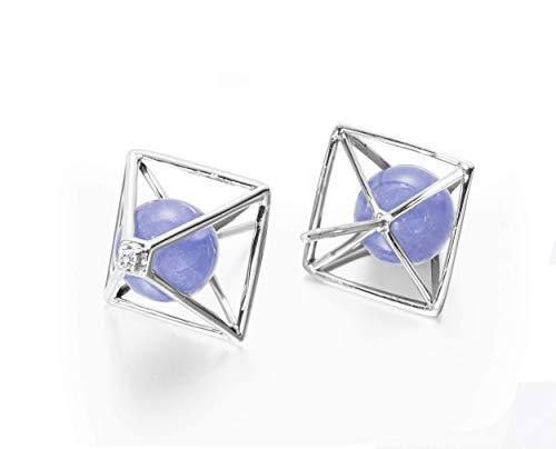 Tanzanite earrings by Majade. December birthstone jewellery, tanzanite stone purple earrings. Handmade 14k white gold earrings with tanzanite and diamond. Violet 3D geometric pyramid stud earrings