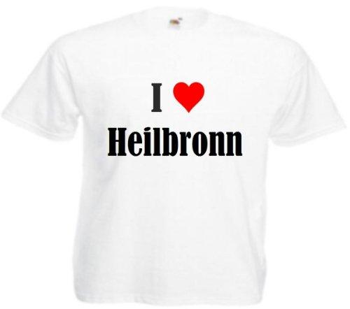 T-Shirt I Love Heilbronn Größe L Farbe Weiss Druck Schwarz