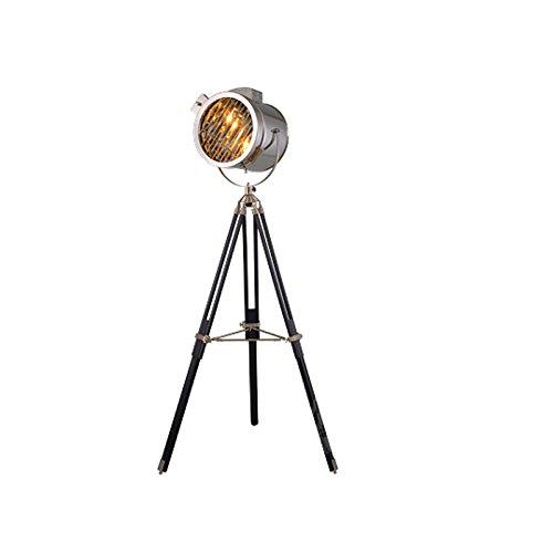NAUY- American Village Retro Salón de la industria creativa Lámparas de piso Estudio de hierro estudio tres pies lámpara de pie Lámpara de pie vertical estilo continental ( Color : Chrome color )