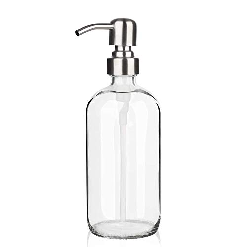 ARKTEK Glass Soap Dispenser - Clear Dish Soap Dispenser for Kitchen, Great for Essential Oils Liquid Soaps (17 Ounce  500 ML)