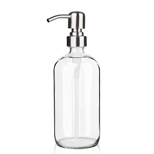 ARKTEK Glas-Seifenspender – 500 ml, klarer Seifenspender mit Edelstahl-Pumpe, Handseifenspender mit rostfreier Pumpe für ätherische Öle, Lotionen, Flüssigseifen