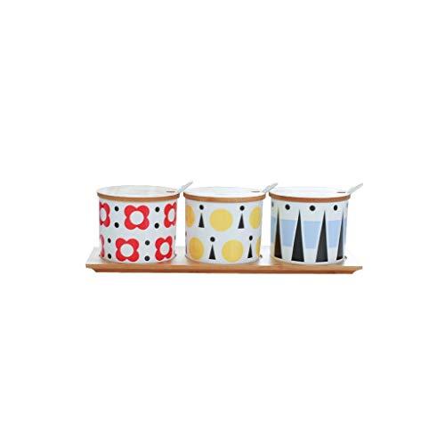 ZCX Küche liefert Keramik Gewürzglas dreiteiligen Anzug Gewürzkasten Gewürztank Flasche Gewürzflasche Salzstreuer Zuckerglas Lagertank Gewürzgläser (Color : B)